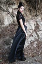 lace vintage blouse - leather unknown brand shoes - satin DIY dress