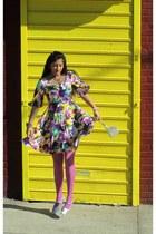 pink H&M tights - purple homemade dress - silver purse - silver flats