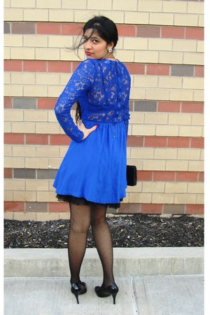 blue H&M dress - blue H&M blazer - black H&M tights - black Payless heels