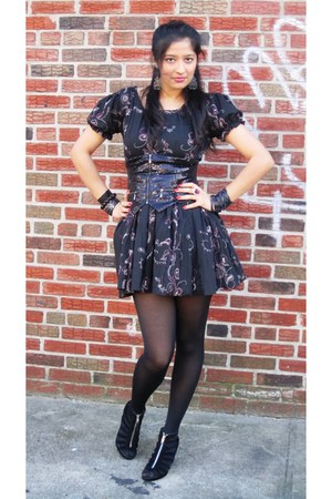 black homemade dress - black H&M tights - black H&M wedges