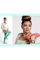 Forever 21 sweater - mint jeans Flying Monkey jeans - Onna Ehrlich bag