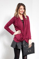 Wine Criss Cross My Heart Cardigan