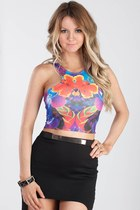 Abstract Floral Crop Top