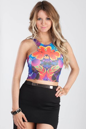 Abstract Floral Crop Top top