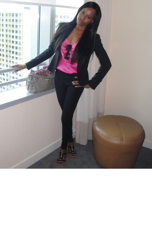 Zara sandals - my faveee Graydon blazer - hot pink Club Monaco shirt