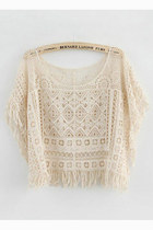 Loose fringe lace tops