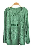 Green Cut Out Knitted Jumpers with High Low Hem