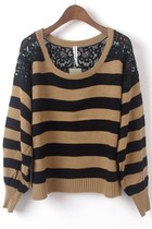 Stripe Jumpers with Floral Lace Detail