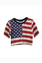 Stars and Stripes print crop t-shirt