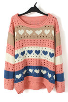 Stripe heart print loose pullover
