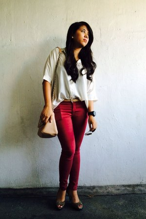 ruby red Penshoppe jeans - light pink Forever 21 bag - Parisian heels