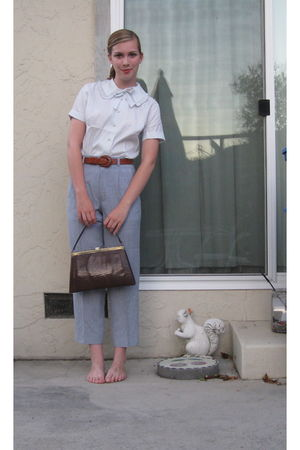 white vintage blouse - blue vintage pants - brown vintage purse - brown vintage