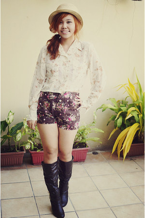 floral Heavenly Forest blouse - dark brown thrifted boots - Aldo hat