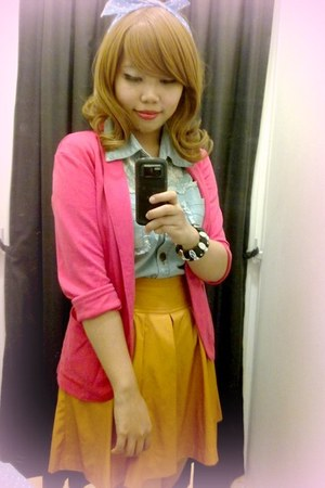 Uniqlo blazer - cotton on top - Uniqlo skirt