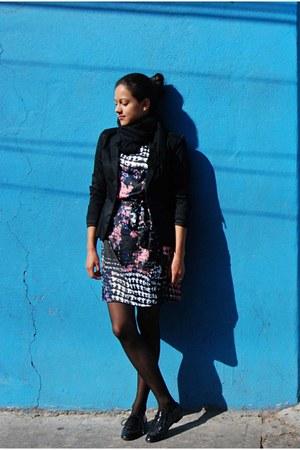 blue and pink dress - black blazer