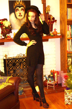 black Urban Outfitters hat - black H&M dress - black CVS tights - dark brown Cla