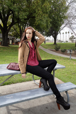 Jeffrey Campbell boots - Forever 21 jeans - vintage jacket - isaac mizrahi purse