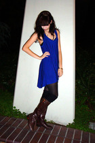 blue unknown brand dress - black CVS tights - black legwarmers socks - brown Ral