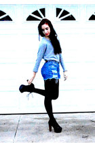 heather gray Forever 21 sweater - blue Levis shorts - black asos tights - black