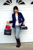 blue BB Dakota coat - white Lushh shirt - blue Candies jeans - brown Forever 21