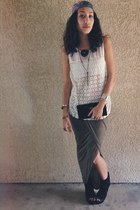 Jeffrey Campbell wedges - nicole miller scarf - Forever 21 top