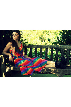 rainbow vintage dress - black Lower East Side shoes