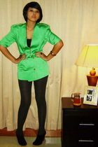 green flea market blazer - gray Marks and Spencers tights