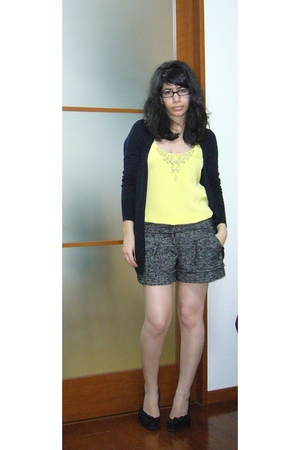 yellow Rebecca Taylor top - black Aldo suit - brown BCBG Maxazria shorts - black