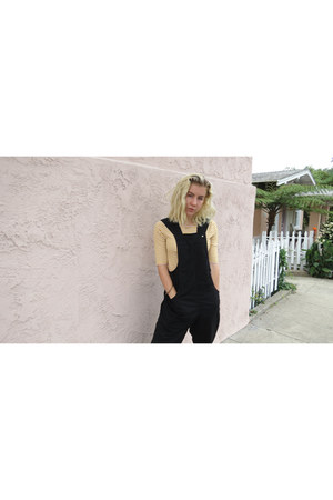 light yellow striped Old Navy shirt - black overalls Urban Outfitters romper