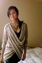 beige Anthropologie cardigan - gold Urban Outfitters necklace