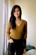 gold FCUK sweater - brown Marc by Marc Jacobs shorts - green H&M tights