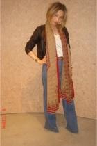 Old Navy jacket - Express t-shirt - Tsubi jeans - vintage scarf