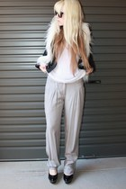 white fuzzy Mink Pink vest - black Siren shoes