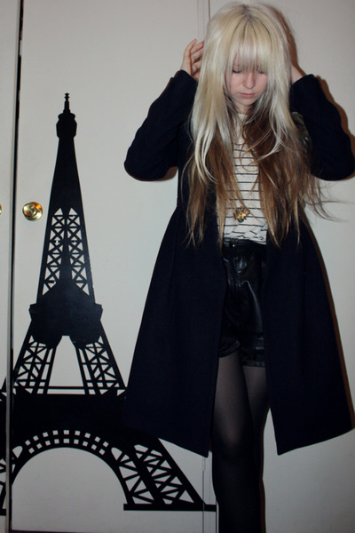 blue Alannah Hill coat - black lucky 13 shorts - beige Topshop shirt - black wel