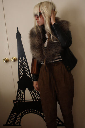 black joanie loves chachie jacket - white bardot shirt - brown Zara pants - gray
