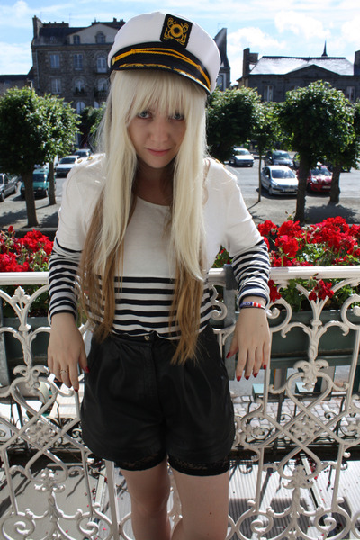 white vintage hat - white bardot shirt - black lucky 13 shorts - black cotton on