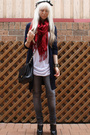 gray lean bean Ksubi jeans - black zu shoes - red vintage scarf