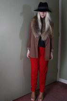 light brown asos jacket - dark brown vintage scarf
