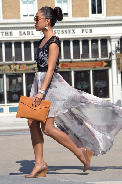 chiffon Urban Outfitters skirt - lace H&M shirt