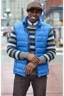 Dark-brown-big-it-up-hat-blue-wool-thrifted-sweater
