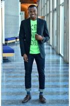 chartreuse cotton Tiebreak Tees t-shirt - dark brown wingtips Pegabo shoes