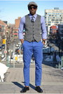 Black-thrifted-shoes-navy-gingham-indochino-shirt-black-h-m-sunglasses