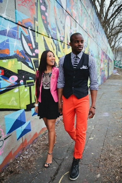 hot pink material girl blazer - black H&M dress - navy gingham Indochino shirt