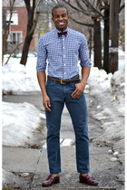navy gingham Indochino shirt - dark brown loafers vintage shoes