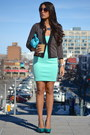 Dark-brown-le-chateau-cardigan-aquamarine-zara-dress-sky-blue-purse