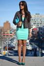 Dark-brown-le-chateau-cardigan-aquamarine-zara-dress-sky-blue-purse