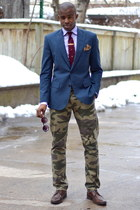 army green camo Dockers pants - dark brown wingtips Pegabo shoes