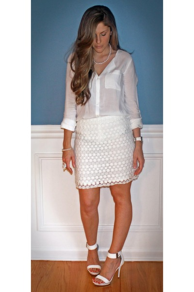 bc729e053c5 Old Navy blouse - white lace H M shirt - Jennifer Lopez heels