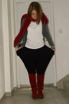 white Fred Perry shirt - red Zara scarf - black Terranova pants - red Les Lolita