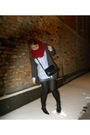Red-zara-scarf-blue-zara-shirt-blue-tally-weijl-skirt-black-dr-martens-boo